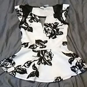 White and black flared top